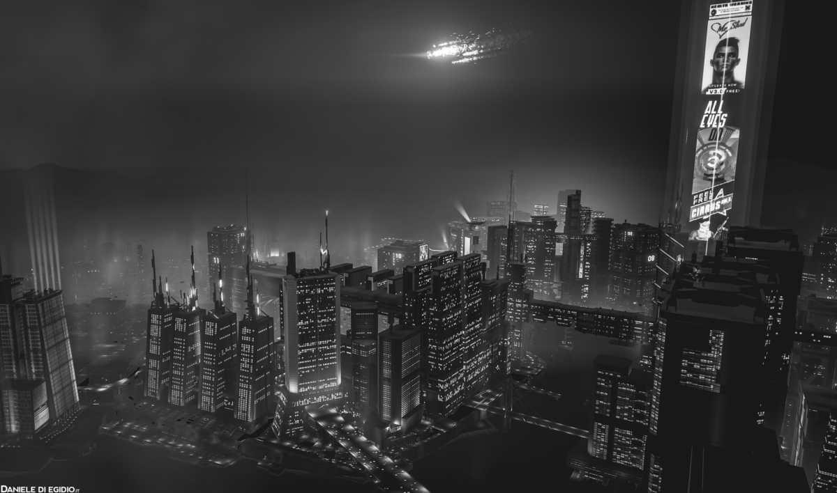 Night City vista dall'alto