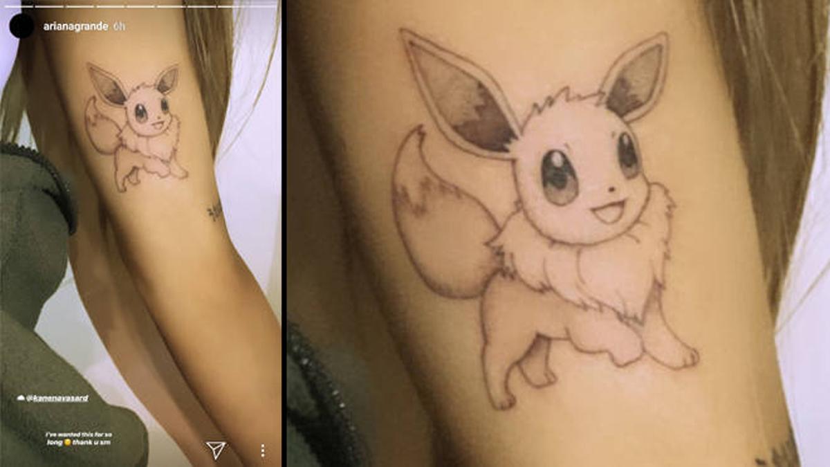 Tatuaggio di Eevee sul braccio di Ariana Grande