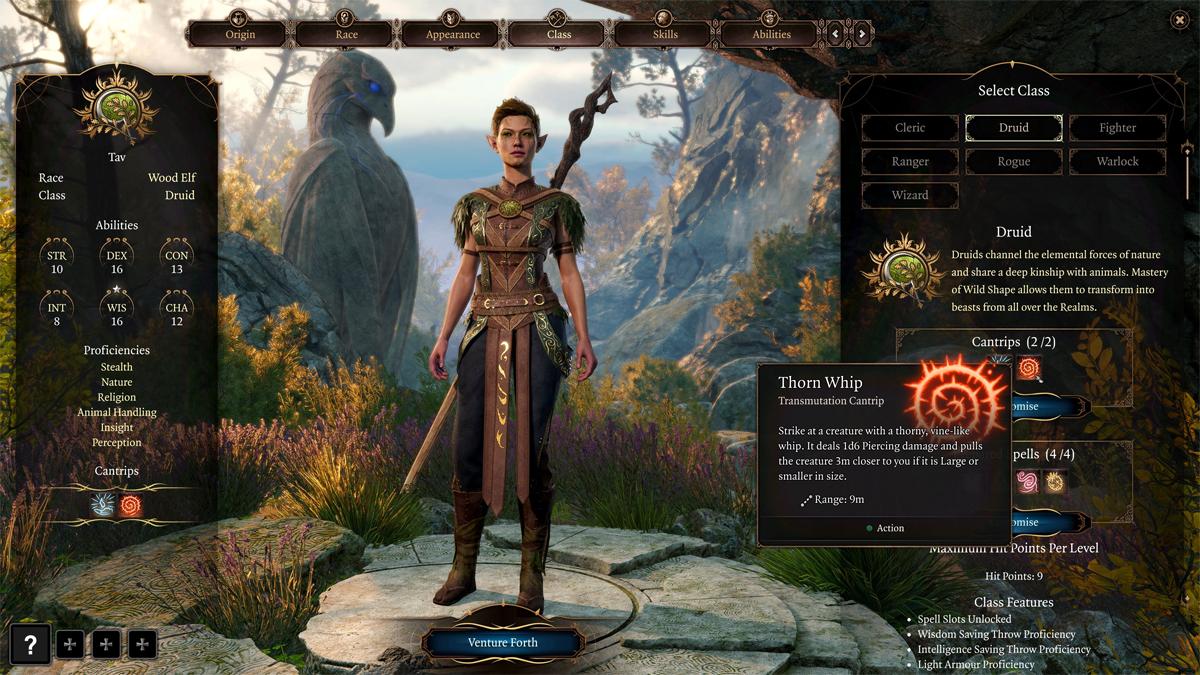 Creazione di un personaggio Druido in Baldur's Gate 3