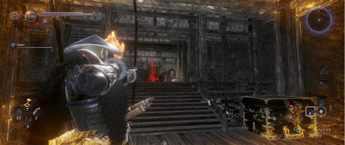Attacco furtivo con l'arco in Nioh 2 contro un Boss