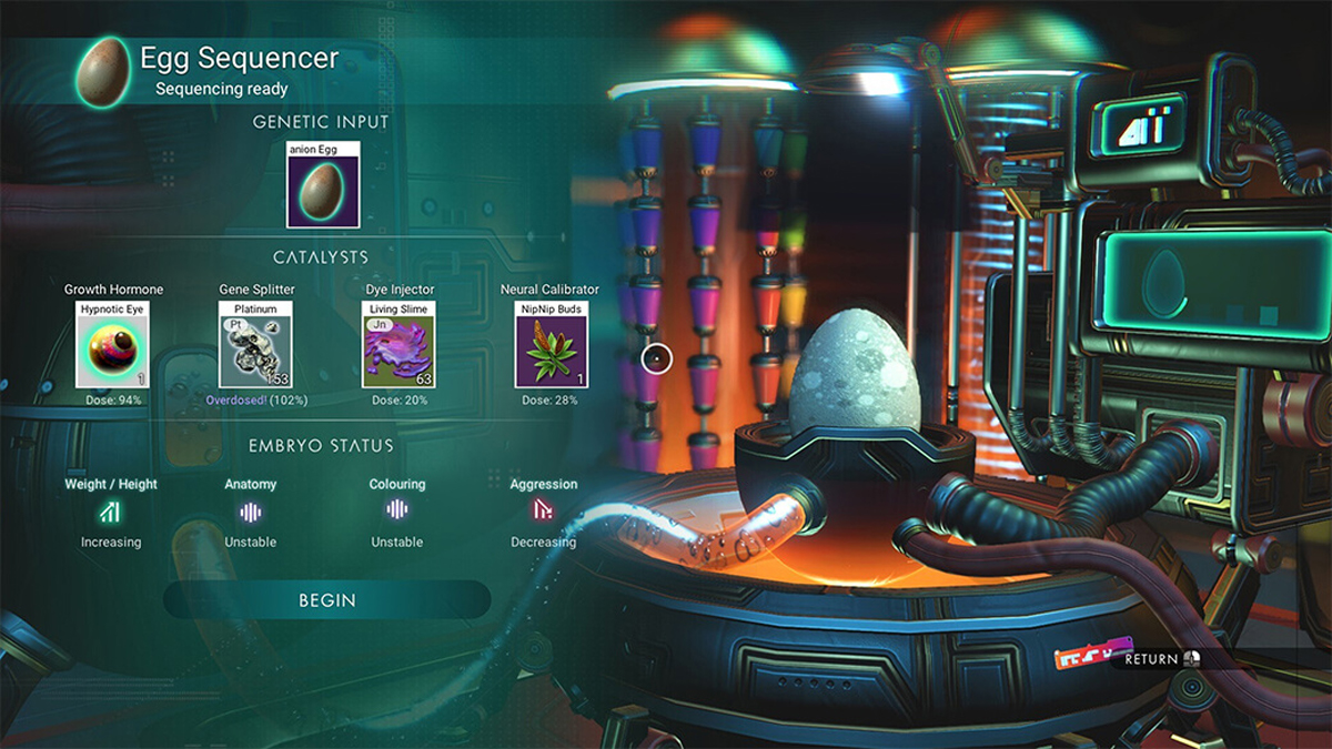 Egg Sequencer introdotto nel Companions Update di No Man's Sky