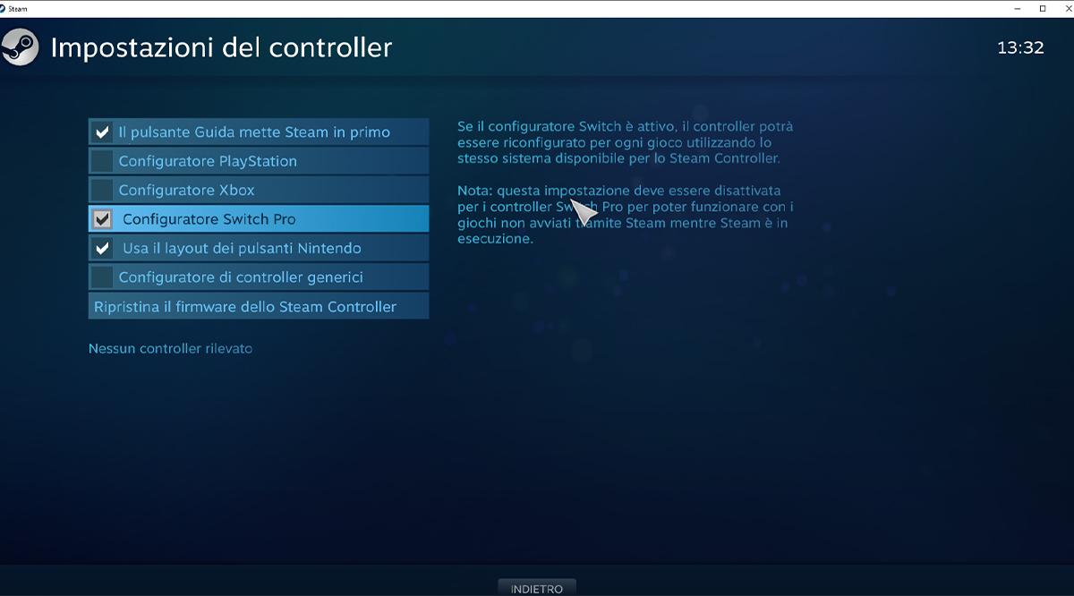 Configurazione dei controller di Steam