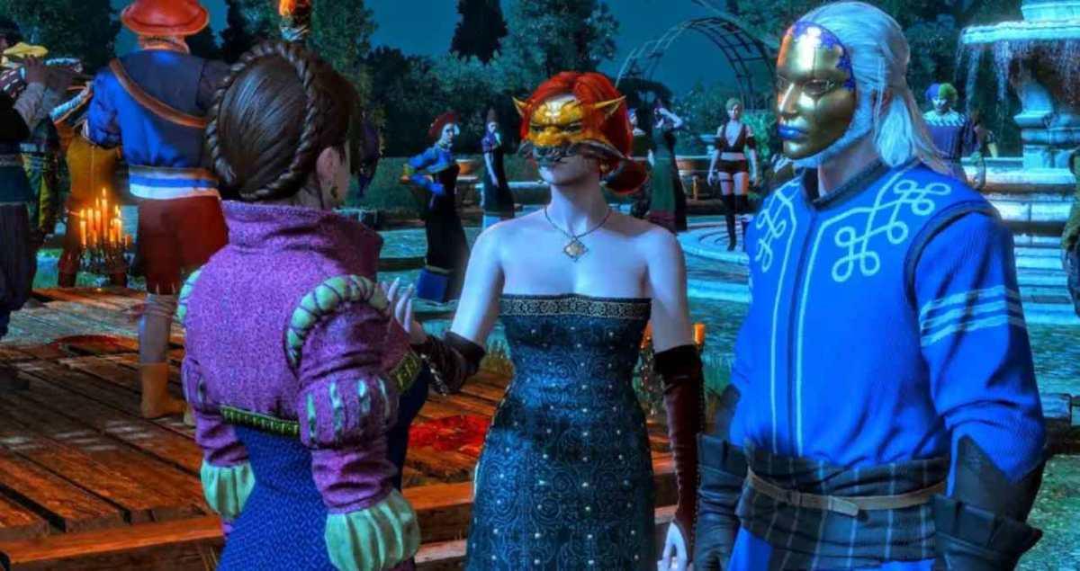 videogiochi carnevale, carnevale, carnevale nei videogiochi, feste in maschera nei videogiochi, the witcher 3, the witcher 3 festa in maschera, Geralt di rivia, triss