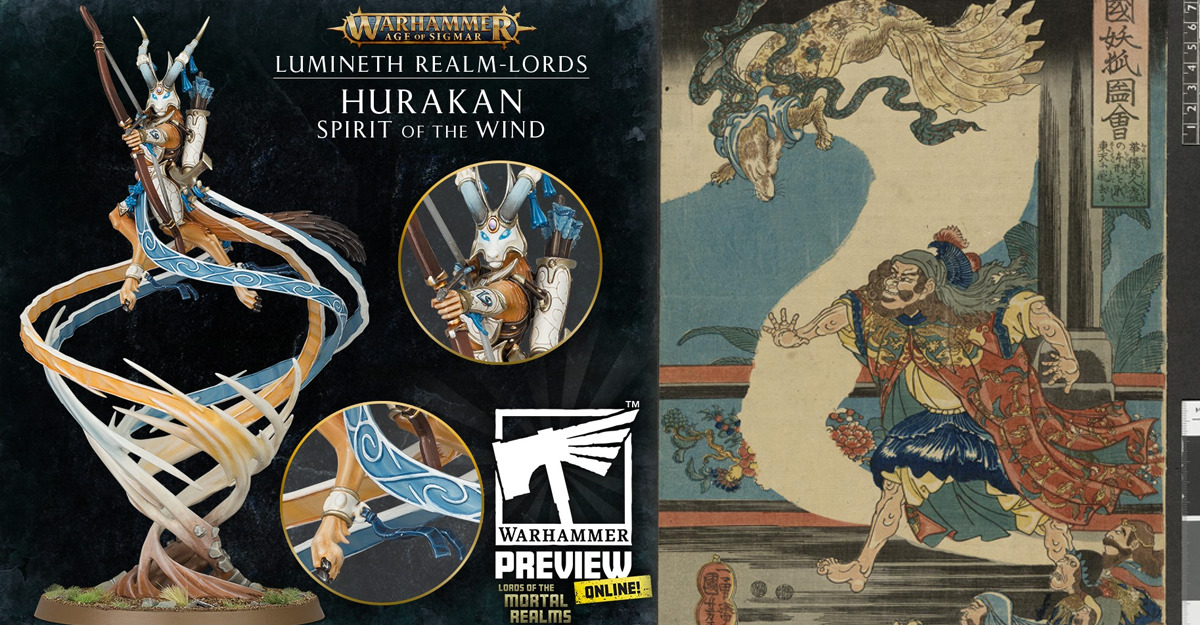 Spirito del Vento Hurakan accanto a una volpe mitologica orientale