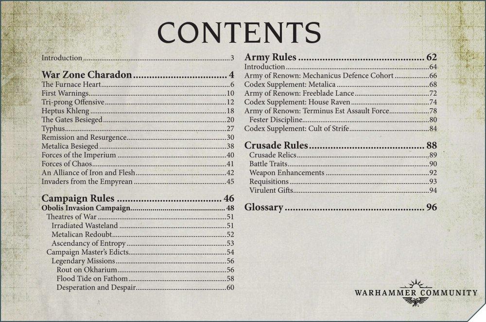 Zona di Guerra Charadon indice dei contenuti