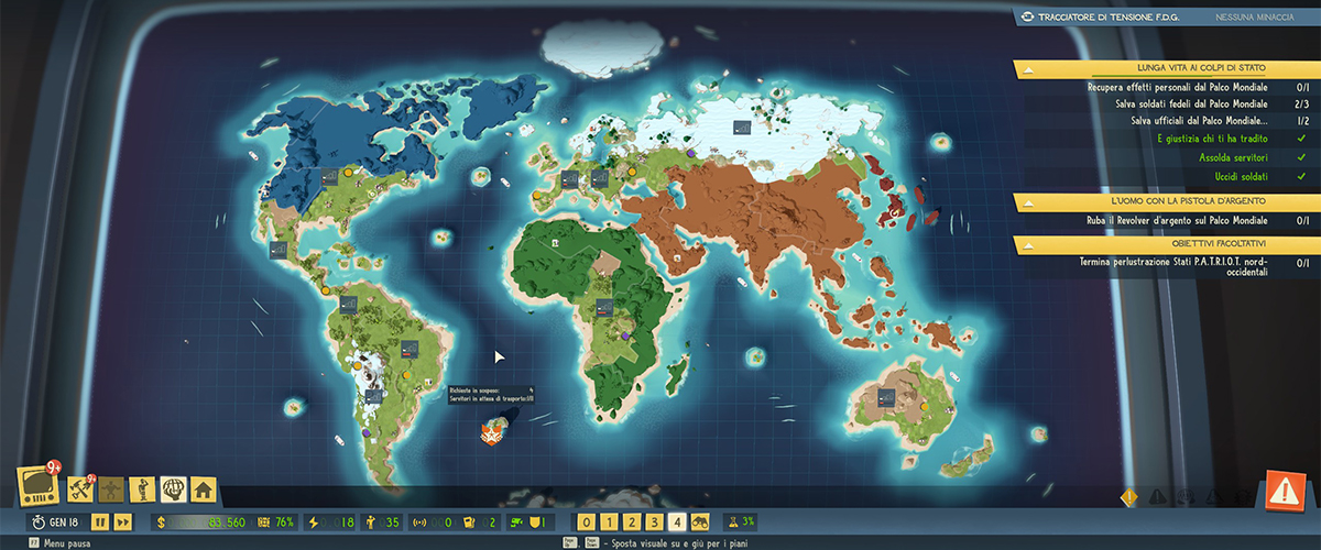Mappa globale di Evil Genius 2