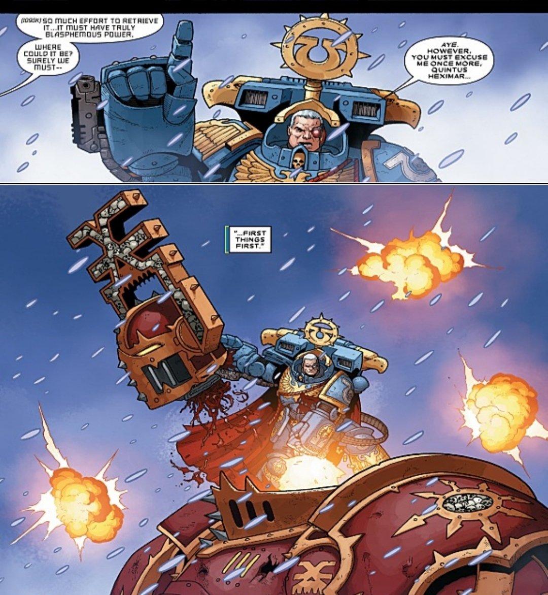 Marneus Calgar distrugge un Signore dei Teschi