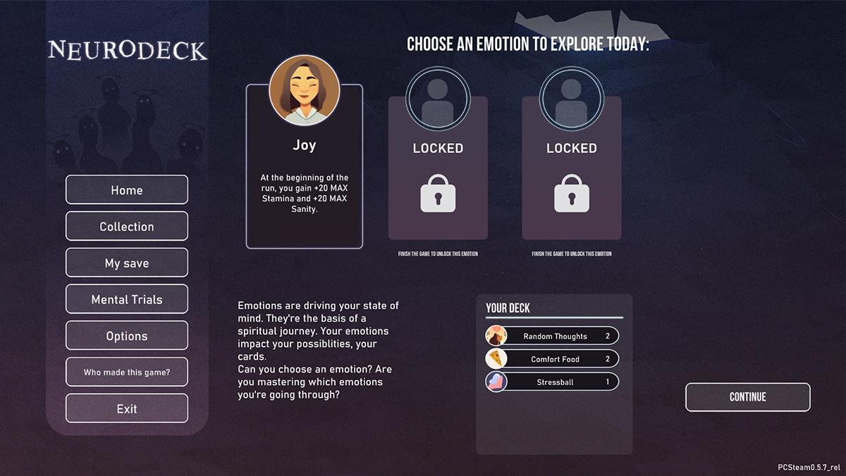 Neurodeck, scelta del mazzo di carte iniziale