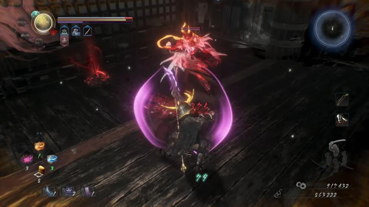 nioh 2 battle against a yokai
