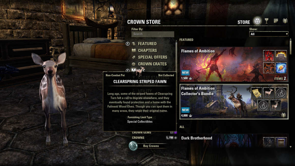Il pet Clearspring Striped Fawn di ESO: Flames of Ambition