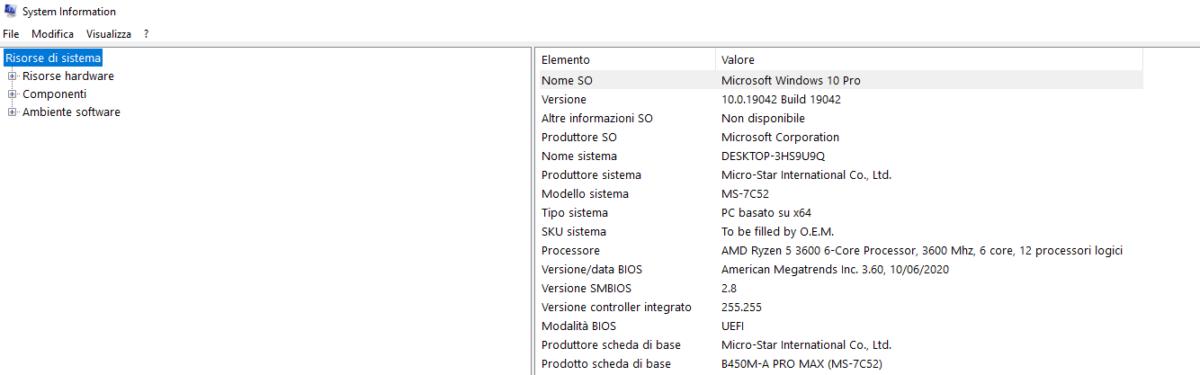 Informazioni di sistema di Windows