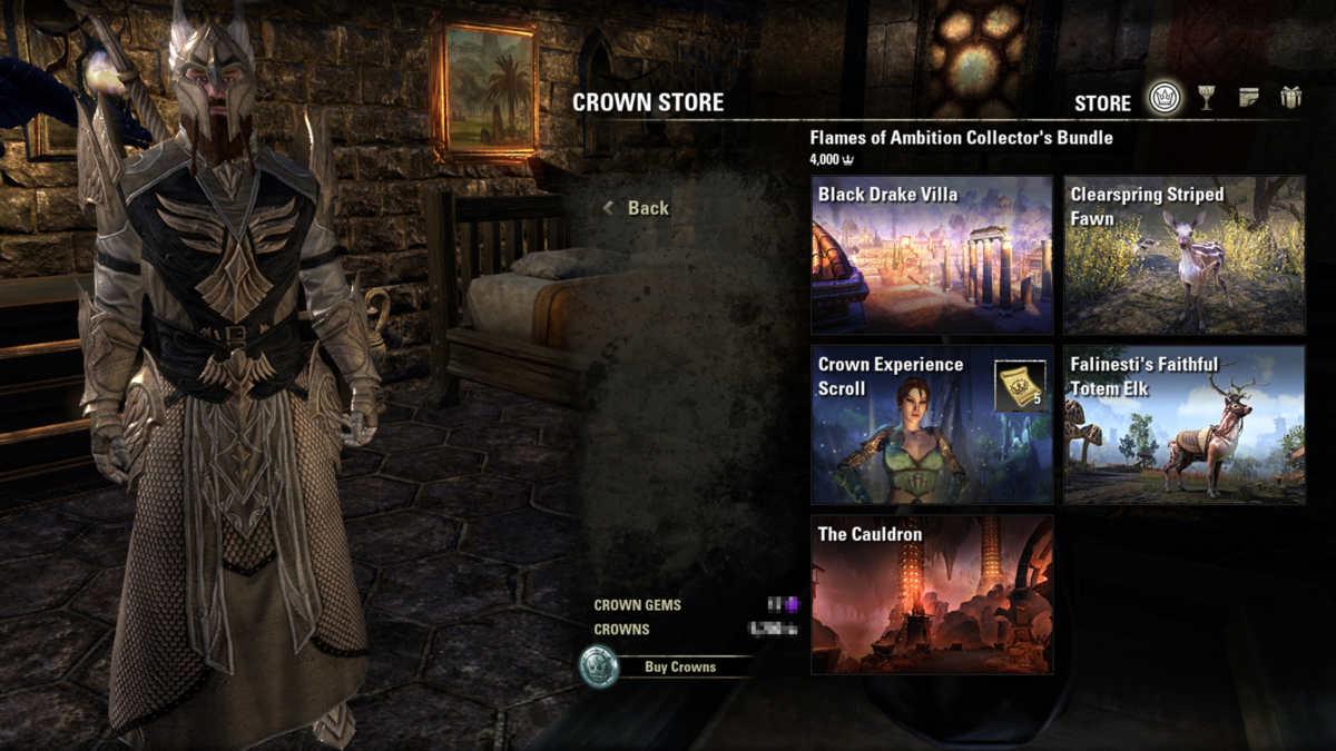 La Collector's Bundle del DLC ESO: Flames of Ambition