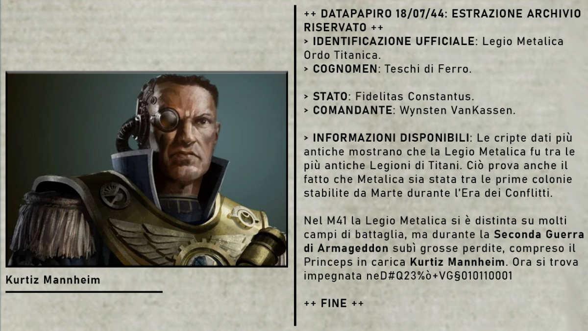Schema Legio Metalica nella Zona di Guerra Charadon