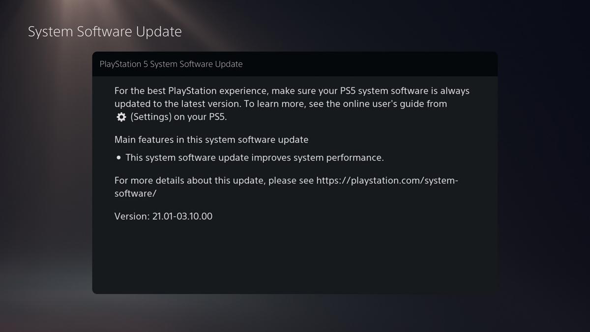 Note dell'aggiornamento della PlayStation 5