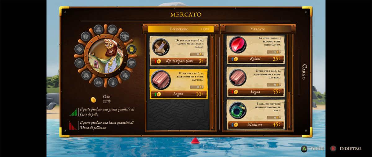 Mercato in un porto di King of Seas
