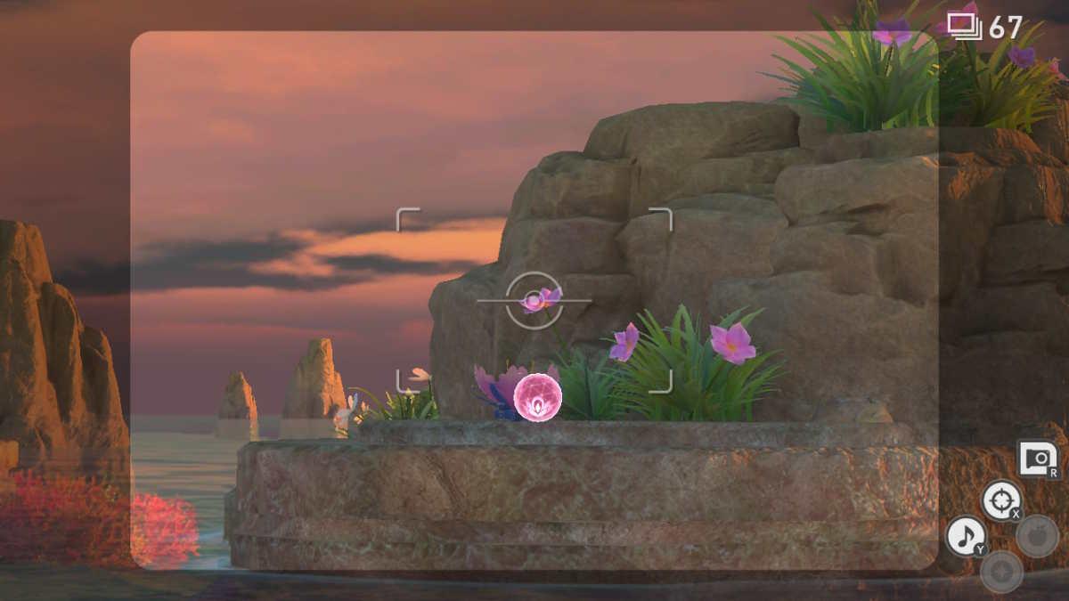 Sfera Lumina lanciata a un Cristalfiore in New Pokémon Snap