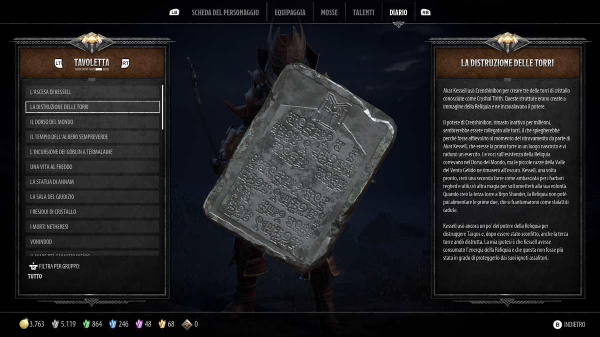 Tavoletta di lore in Dark Alliance