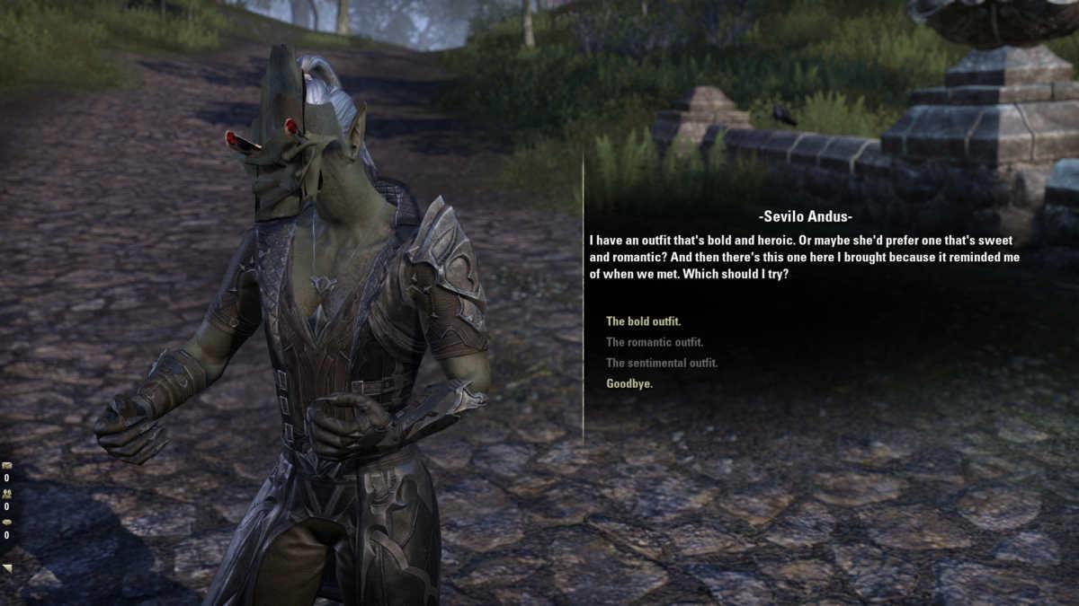 Un glitch grafico su The Elder Scrolls Online Blackwood, con la testa di un NPC che sembra esplodere durante la conversazione