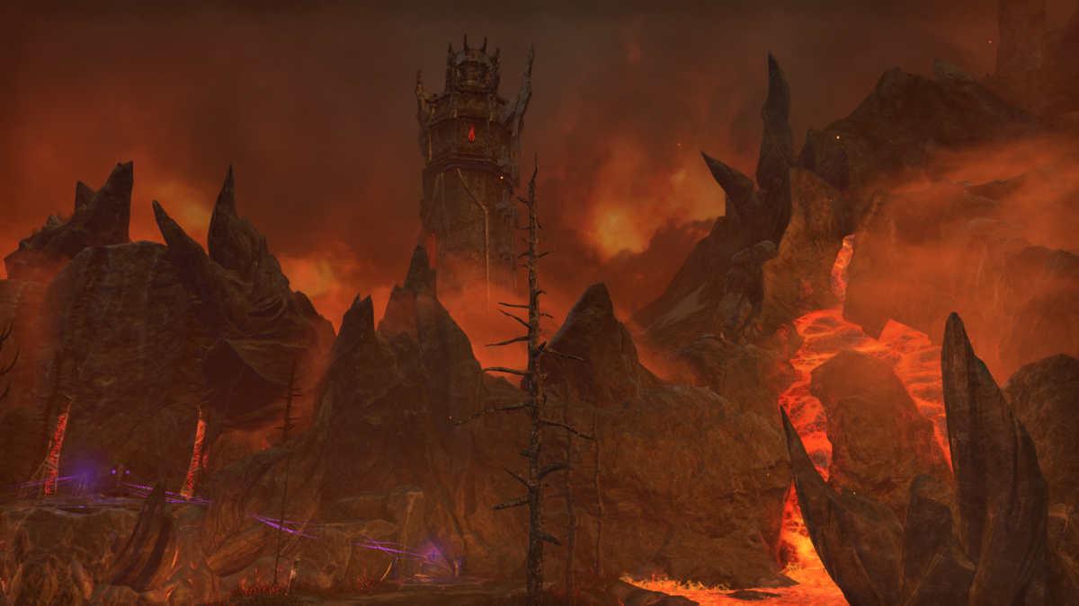 Una veduta del paesaggio vulcanico delle Deadlands di Oblivion