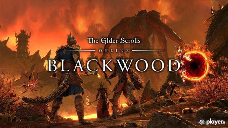 Copertina della recensione The Elder Scrolls Online Blackwood, con Mehrunes Dagon sullo sfondo