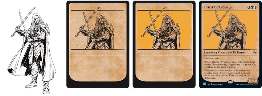 Drizzt Do'Urden in Magic nella sua variant rulebook art