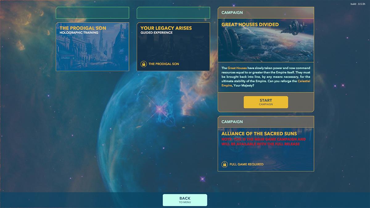 Menu principale di Alliance of the Sacred Suns