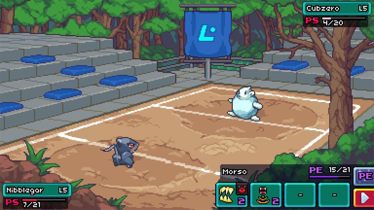 Combattimento Coromon in un'arena