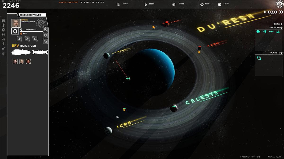 Orbita attorno a un pianeta di Falling Frontier
