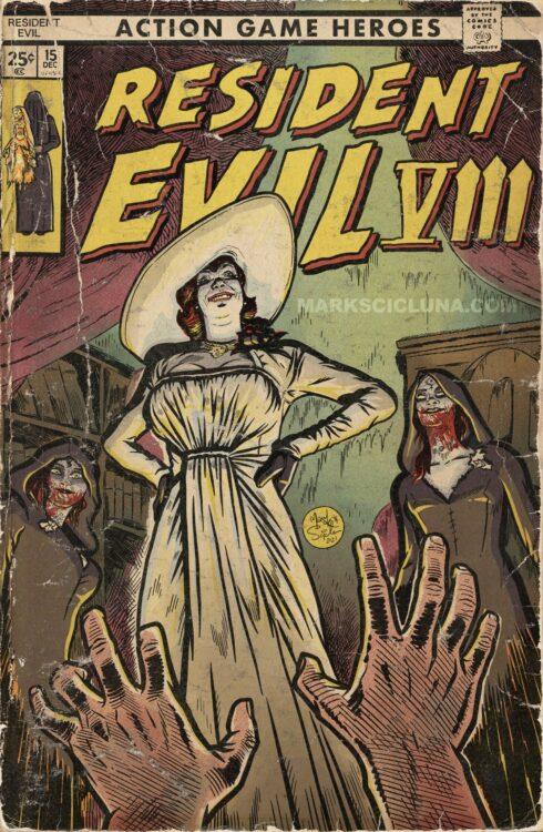 resident evil village omaggio, resident evil village omaggio fumetto vintage, resident evil village vintage, lady dimitrescu resident evil village, lady dimitrescu vintage