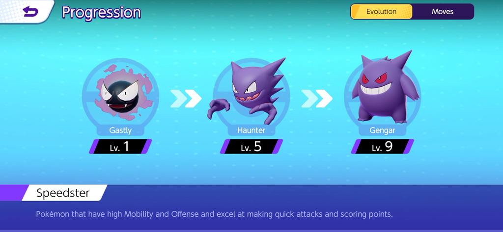 Gastly, Haunter e Gengar in Pokémon Unite