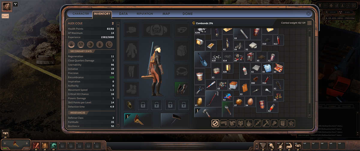 Inventario e statistiche del personaggio