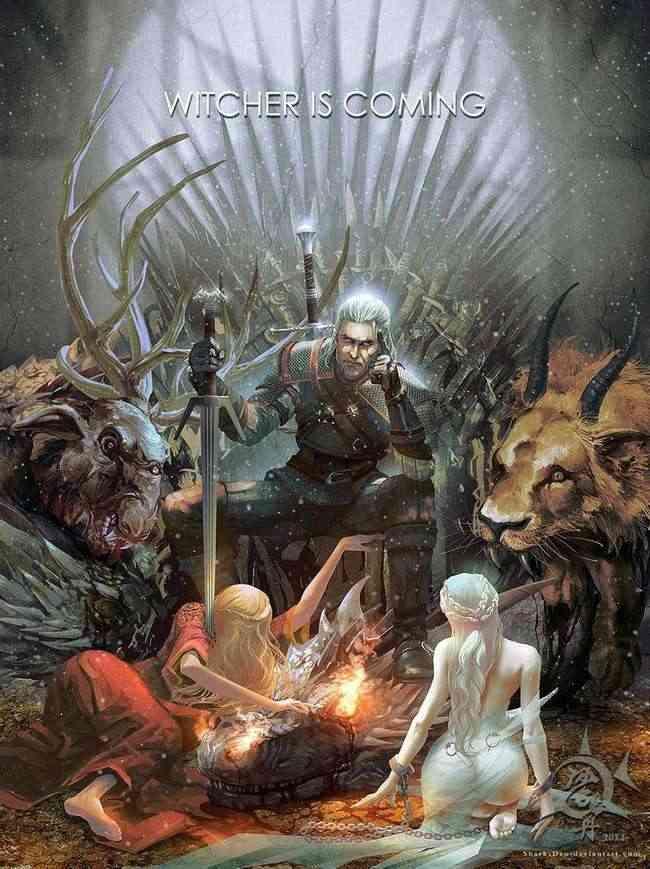 the witcher 3-wild hunt, the witcher 3 wild hunt fan-art, the witcher 3 wild hunt game of thrones fan-art, the witcher 3 fan-art got, the witcher 3 cersei lannister geralt Daenerys tarfaryen