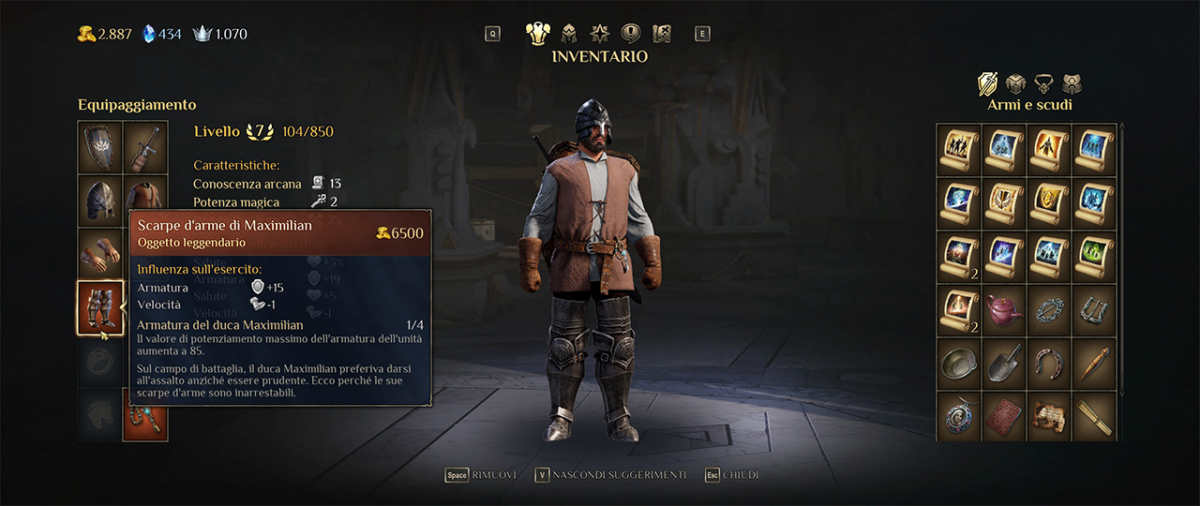 King's Bounty 2, inventario